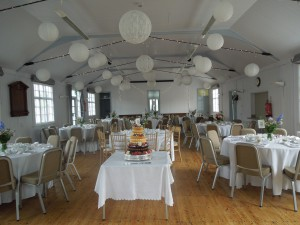 The Grey Village Hall set up for a wedding reception