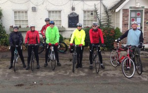 Members of the Cycling Club outside the Rose and Crown